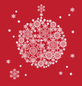 Silhouette of hanging ball formed by snowflakes christmas background Royalty Free Stock Image