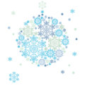Silhouette of hanging ball formed by snowflakes christmas background Royalty Free Stock Photos