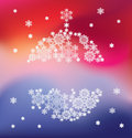 Silhouette of hanging ball formed by snowflakes christmas background Stock Image