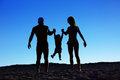 Silhouette of happy family Royalty Free Stock Photo