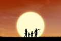 Silhouette happy family walking field sunset Royalty Free Stock Photos