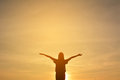 Silhouette of happy women relax in the nature Royalty Free Stock Photo