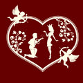 Silhouette of a heart with cupids and a couple