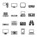 Silhouette Hi-tech equipment icons Royalty Free Stock Photo