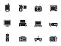 Silhouette Hi-tech technical equipment icons Royalty Free Stock Photo
