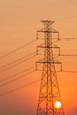 Silhouette of High voltage tower. Stock Image