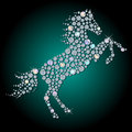Silhouette of horse symbol year made with faceted shiny diamond Royalty Free Stock Images