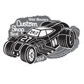Silhouette of hot rod car in smoke with best custom shop lettering Royalty Free Stock Photo