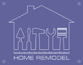 Silhouette of a house with tools for repair. Logo home remodel. Royalty Free Stock Photo