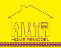 Silhouette of a house with tools for repair. Logo home remodel in yellow