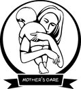 Silhouette icon sign a mother s care illustration by design eps Stock Images