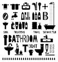 Silhouette icons of bathroom and toiletries Royalty Free Stock Photo