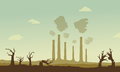Silhouette of industry and broken forest