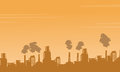 Silhouette industry pollution background