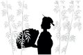 Silhouette of japanese with fan Royalty Free Stock Photography