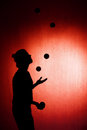 Silhouette of a juggler Royalty Free Stock Photo