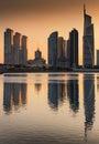 Silhouette of Jumeirah lakes towers at dusk, Dubai, United Arab