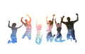 Silhouette of jumping friends with background of the beach Royalty Free Stock Photo