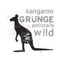 Silhouette Kangaroo In Grunge Design Style Animal Icon Royalty Free Stock Photo