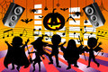 Silhouette Kids Dancing Halloween Party Royalty Free Stock Photo