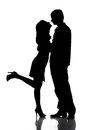 Silhouette of kissing happy couple Stock Photography