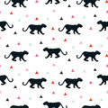Silhouette of leopard seamless white pattern.