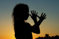 Silhouette of little girl Royalty Free Stock Photo