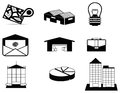 Silhouette logistic and estate icon collection set create by vector Stock Photography