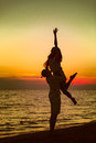 Silhouette of Lovely Couple at the beach