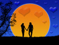 Silhouette of a loving couples Royalty Free Stock Image