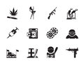 Silhouette mafia and organized criminality activity icons vector icon set Stock Images