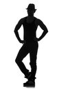 Silhouette of male dancer isolated on white Royalty Free Stock Photo