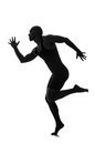 Silhouette of male dancer isolated on white Royalty Free Stock Images