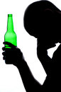 Silhouette of man drinking alcohol Royalty Free Stock Image