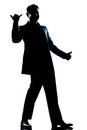 Silhouette man full length happy saluting Stock Image