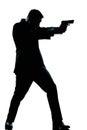 Silhouette man full length shooting with gun