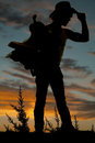 Silhouette of a man holding a saddle and touching his hat cowboy the brim on to Stock Photo