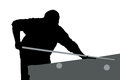 Silhouette of a man on the pool table Stock Photography