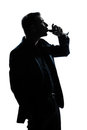 Silhouette man portrait drinking red wine Royalty Free Stock Photo