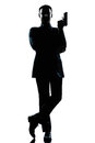 Silhouette man secret agent james bond posture Royalty Free Stock Photo