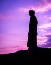 Silhouette of man standing alone on top of mountain Royalty Free Stock Photo