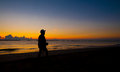 Silhouette of a man walking Royalty Free Stock Photo