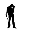 Silhouette of man warrior. Stock Images