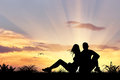 Silhouette of man and woman Royalty Free Stock Photo