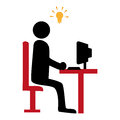 Silhouette with manager in office and idea light bulb icon