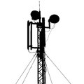 Silhouette mast antenna mobile communications Royalty Free Stock Photo