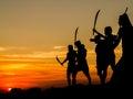 Silhouette of memorial bravery tung sumrit korat land Royalty Free Stock Photos