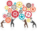 Silhouette men turning and pushing cogs illustration of a group of in lifting gears Royalty Free Stock Photography