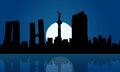 Silhouette of Mexico city at night landscape Royalty Free Stock Photo