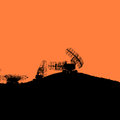 Silhouette military radar dish. Vector illustration